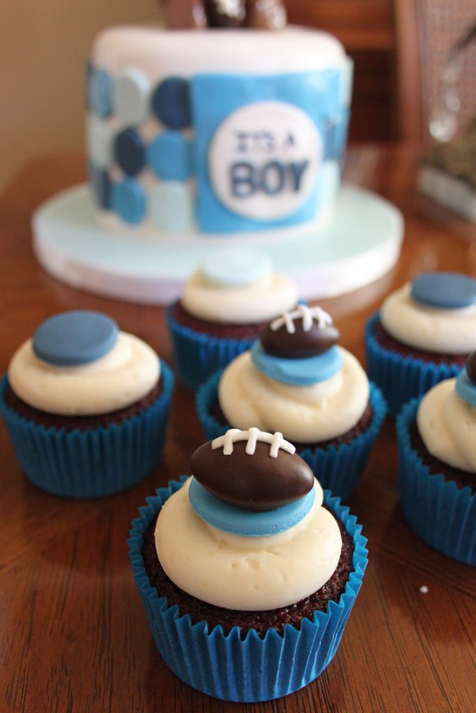 8 Football Baby Shower Cupcakes Photo Baby Shower Cupcake Cakes
