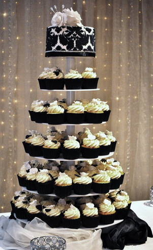 12 Black And White Wedding Cakes And Cupcakes Photo - Black and ...