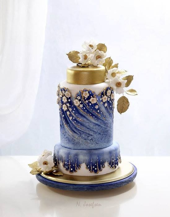 8 Blue And Gold Elegant Birthday Cakes Photo Blue and Gold