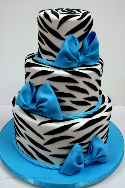 Blue and Zebra Baby Shower Cakes