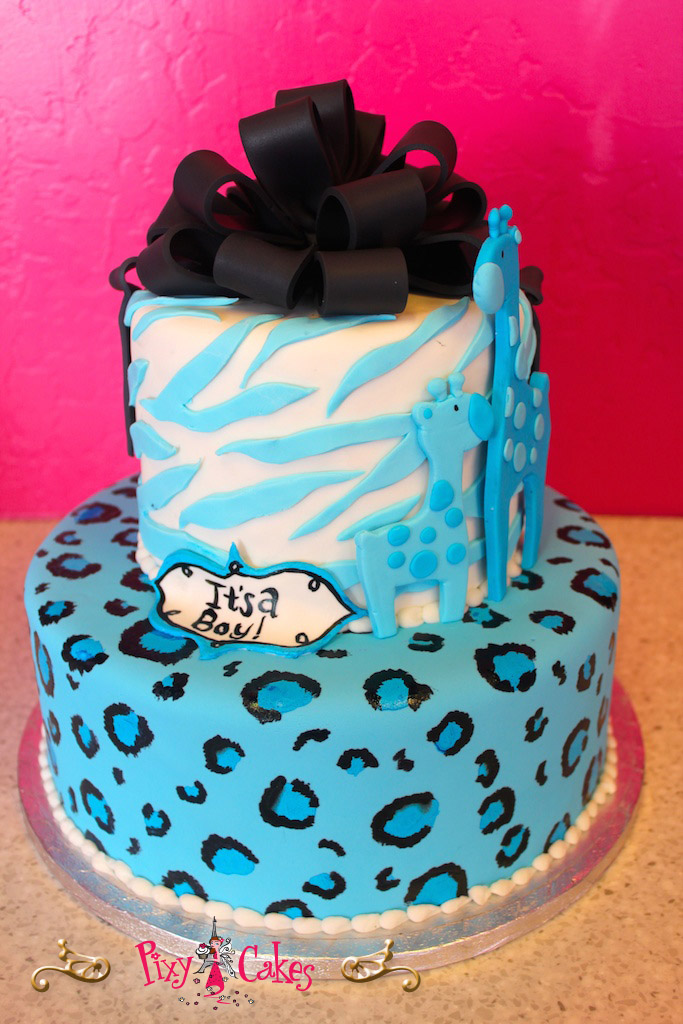 Blue Cheetah Print Baby Shower Cakes