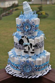Blue Zebra Print Baby Shower Cake Ideas