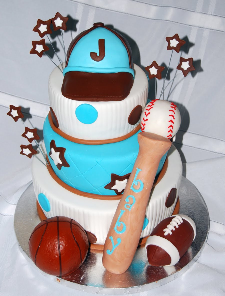 Boy Sports Theme Baby Shower Cake