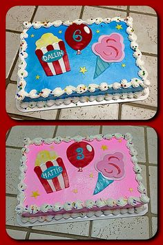 Carnival Themed Birthday Sheet Cakes