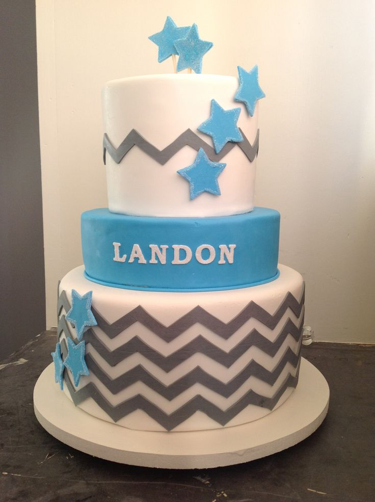 9 Baby Chevron Cake Blue Cakes Photo Chevron Baby Shower Cake