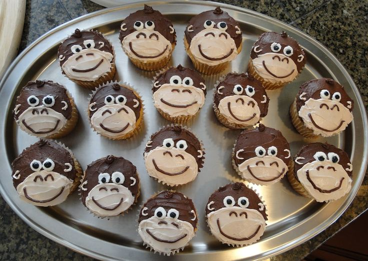 10 Boy 1st Birthday Monkey Cupcakes Photo Monkey Birthday Cakes
