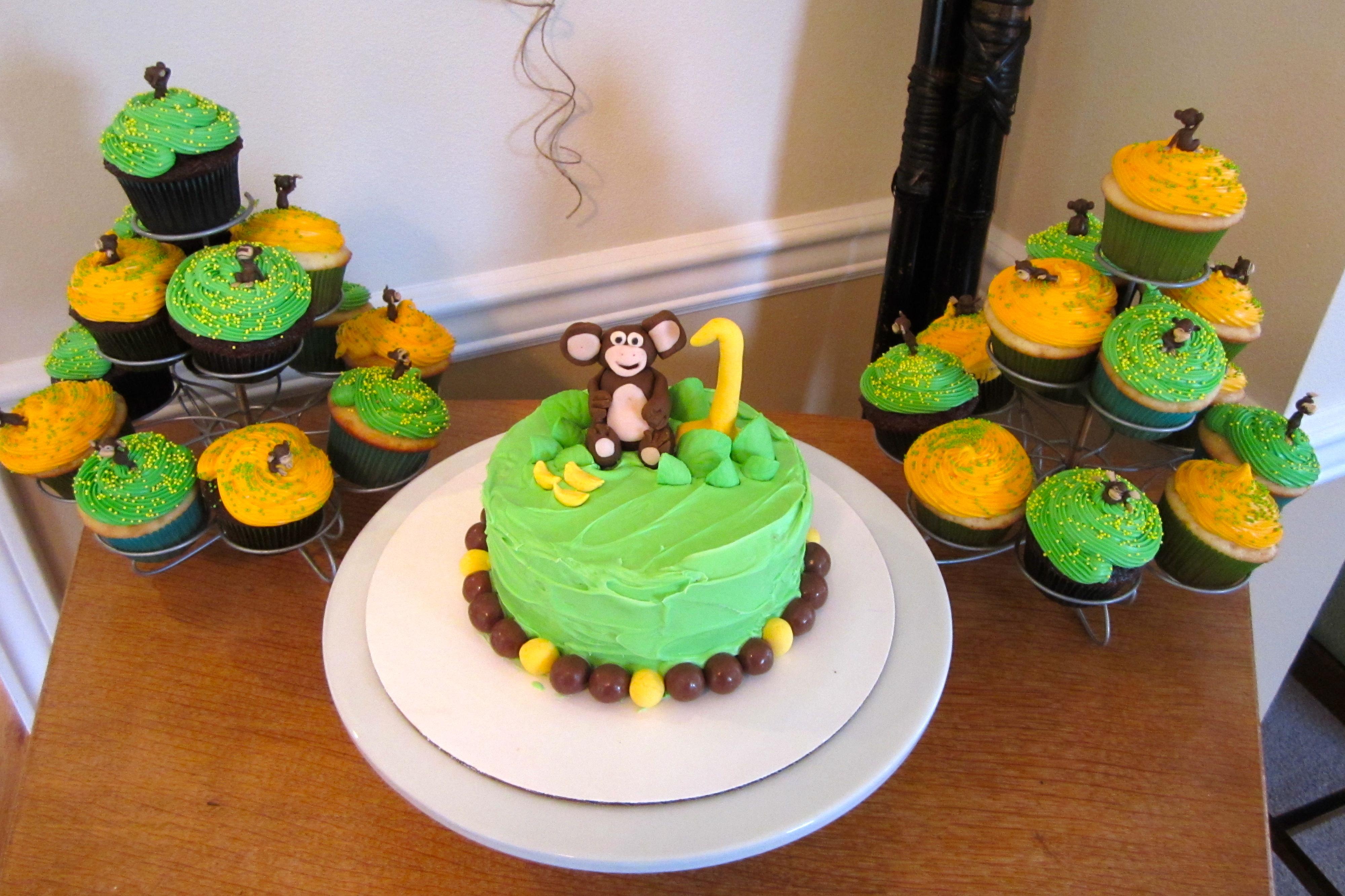10 Boy 1st Birthday Monkey Cupcakes Photo Monkey Birthday Cakes
