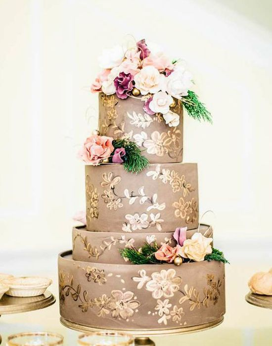 11 Pink Gold And Lavender Wedding Cakes Photo - Pink and Purple ...