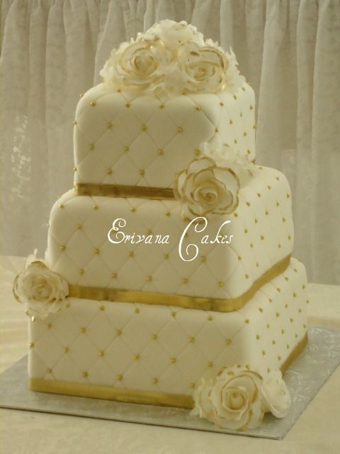 white n gold wedding cake 11 white gold and square cakes photo square tiered cake 27300