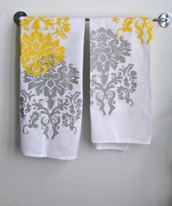 Yellow And Gray Towels