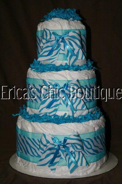 Zebra Print Baby Shower Cake Boy