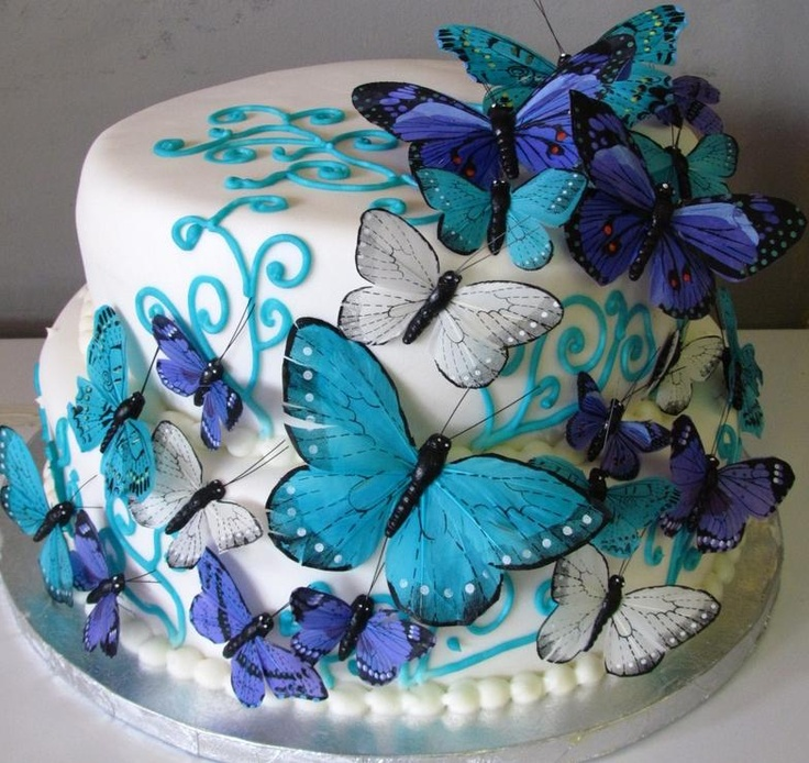 11 Photos of Butterfly Sweet Sixteen Cakes