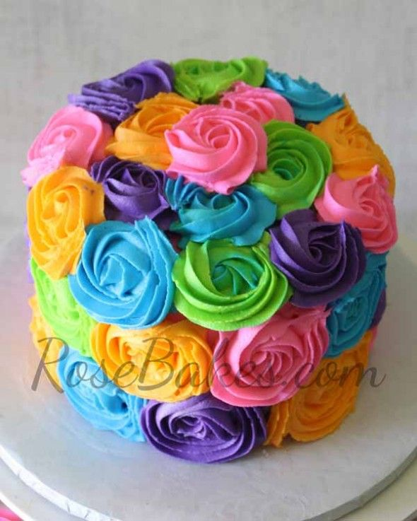 12 Birthday Cakes For A Girl With Bright Colors Photo Bright