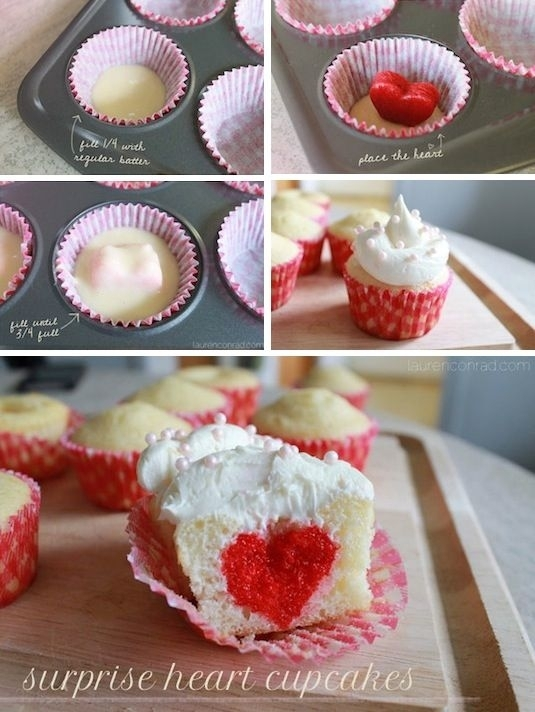 5 Photos of Valentine Surprise Inside Cupcakes