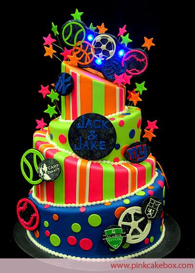 10 Neon Themed Birthday Cakes Photo Neon Birthday Cake Neon Girl