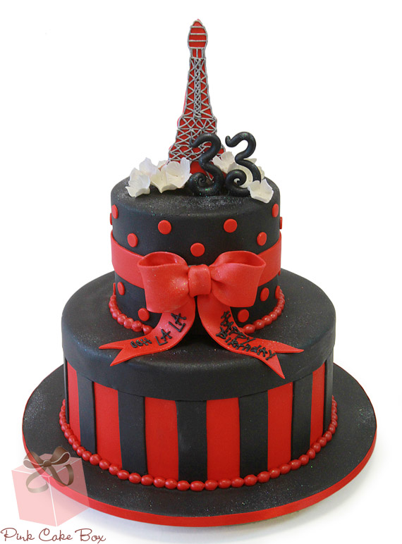 12 Red White And Black Paris Themed Cakes Photo Paris Theme