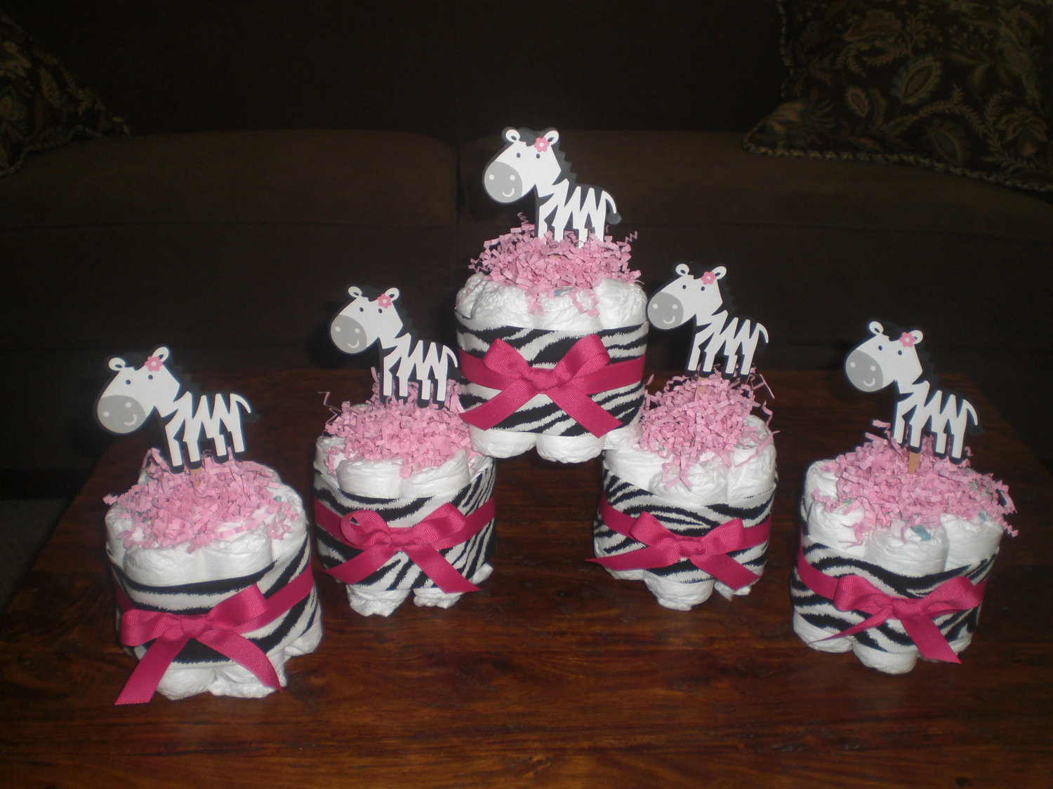 Pink And Zebra Baby Shower Centerpieces