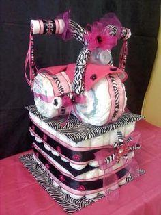 Superior Pink Zebra Diaper Cake Tricycle