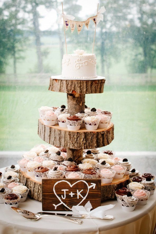 10 Rustic 2 Tier Wedding Cakes With Cupcakes Photo - Rustic 2 Tier ...