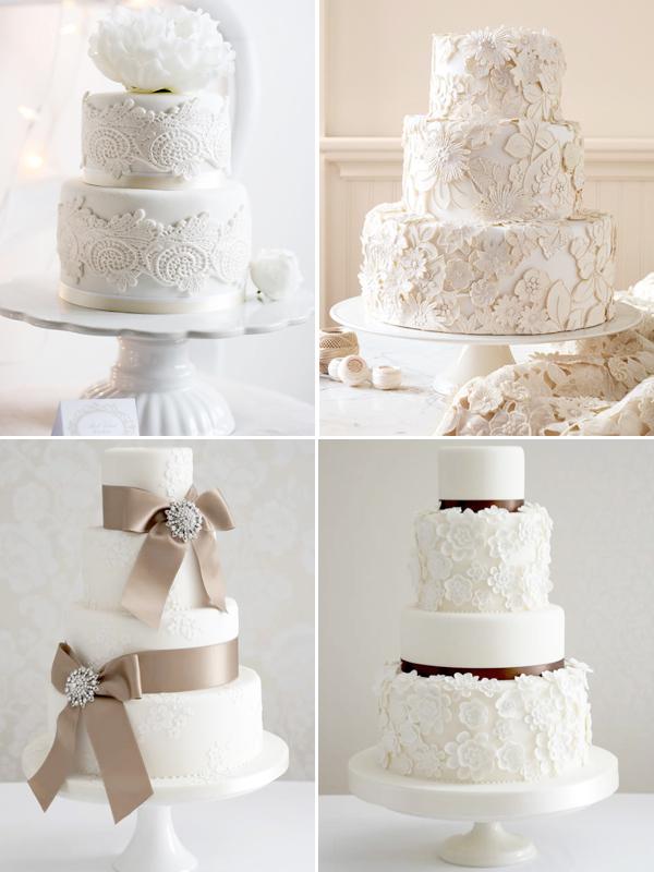 11 White With White Lace Cakes Photo White Wedding Cake White
