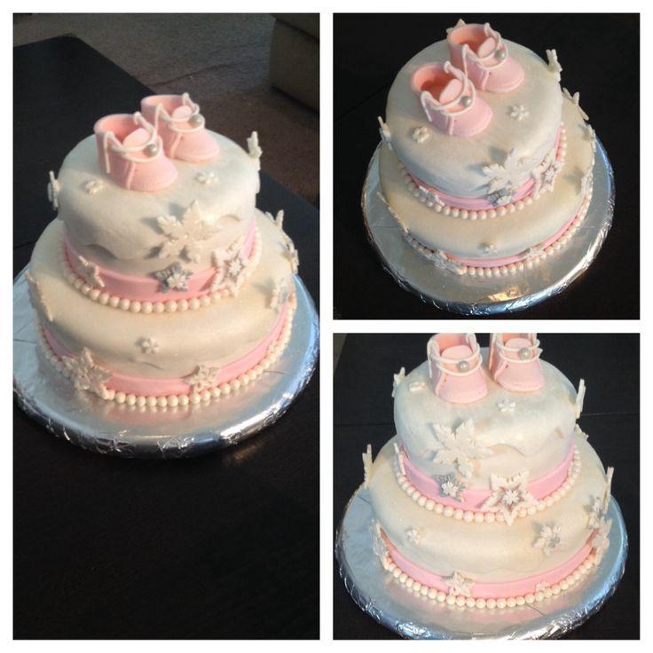 Winter Wonderland Theme Baby Shower Cake Girls
