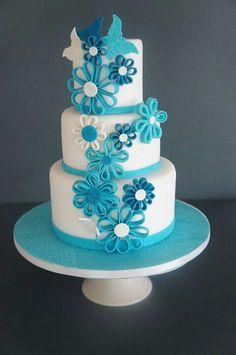 Birthday Cake with Blue Flowers