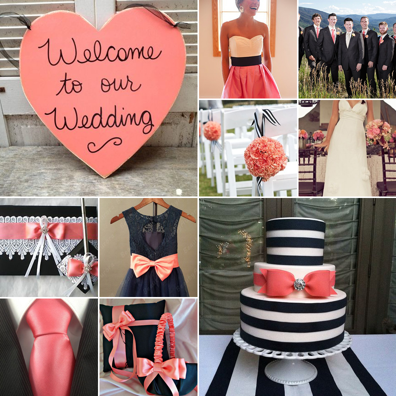 5 Photos of In Black And Coral Wedding Cakes