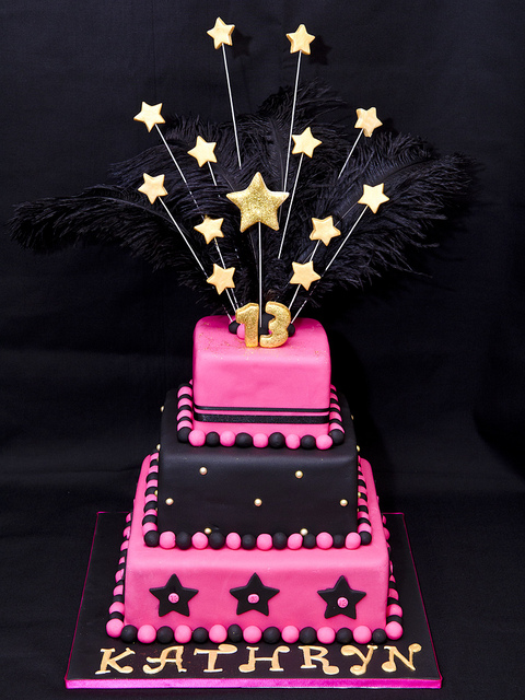 Black And Pink 13th Birthday Cake