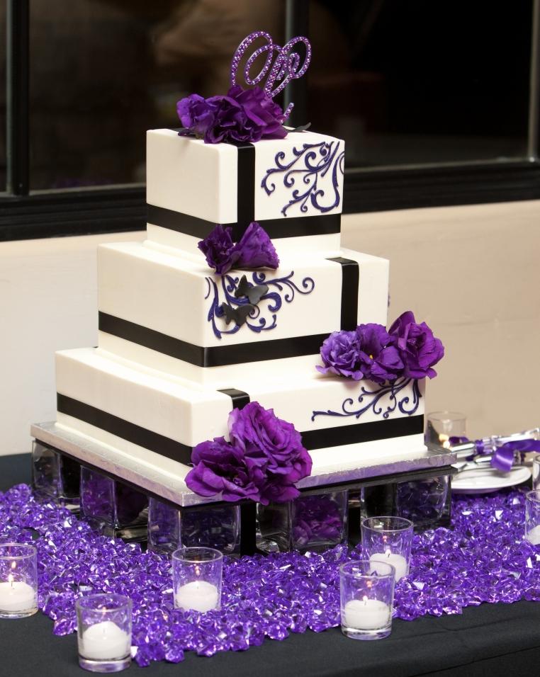 10 Black And Purple Cake Wedding Cakes Photo - Purple and Silver ...