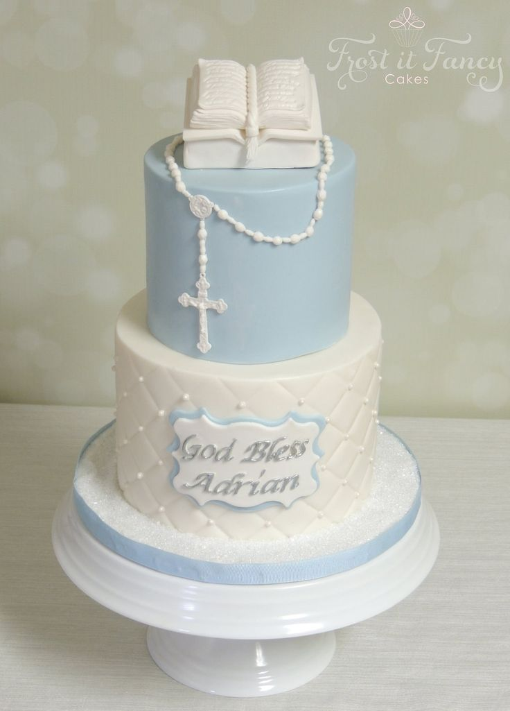 Buttercream Baptism Bible Cakes for a Boy