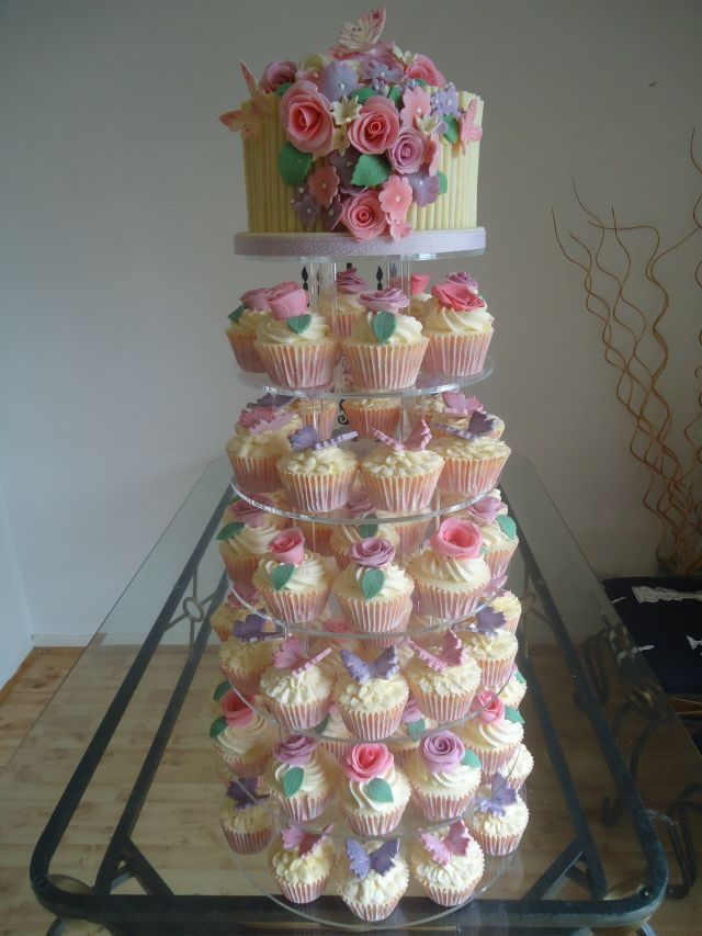 6 Photos of Butterfly Wedding Cake With Cupcakes