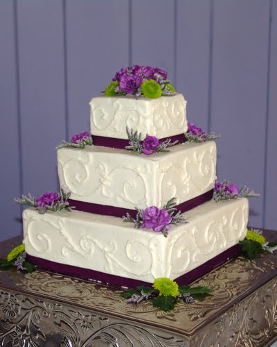 Green and Purple Square Wedding Cake