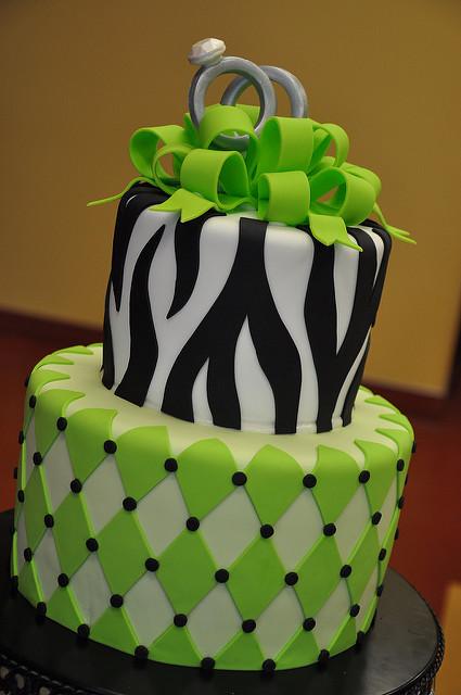 Green and Zebra Birthday Cake