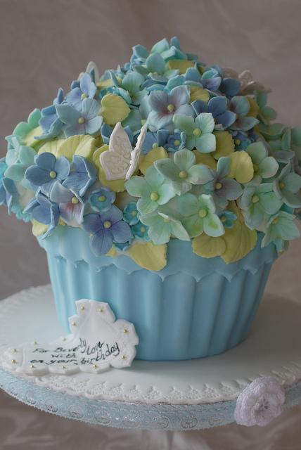 Hydrangea Cupcakes Flower Pot
