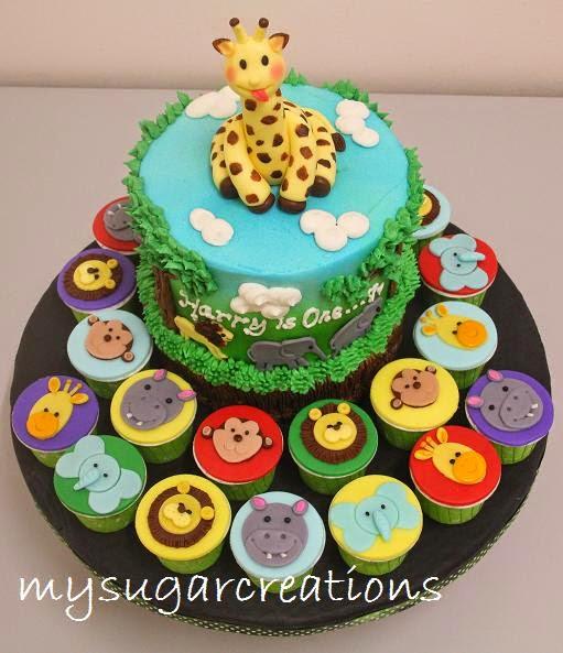 Jungle Animal Theme Birthday Cakes