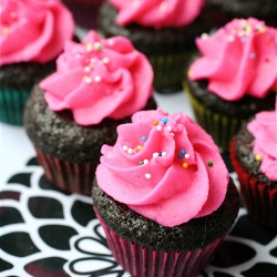Mini Pink Cupcakes with Chocolate Frosting