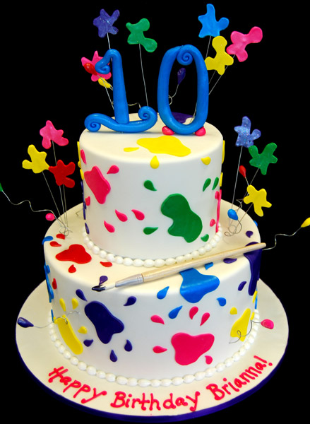 Outstanding 9 Paint Party Birthday Cakes Photo Paint Party Birthday Cake Personalised Birthday Cards Sponlily Jamesorg