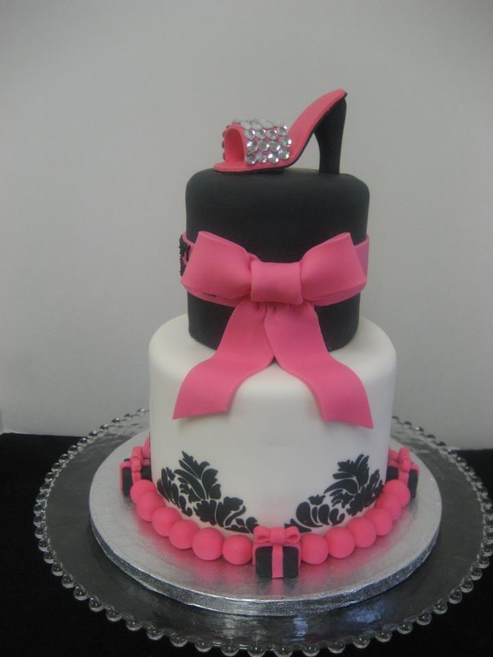 Pink And Black Damask Birthday Cake