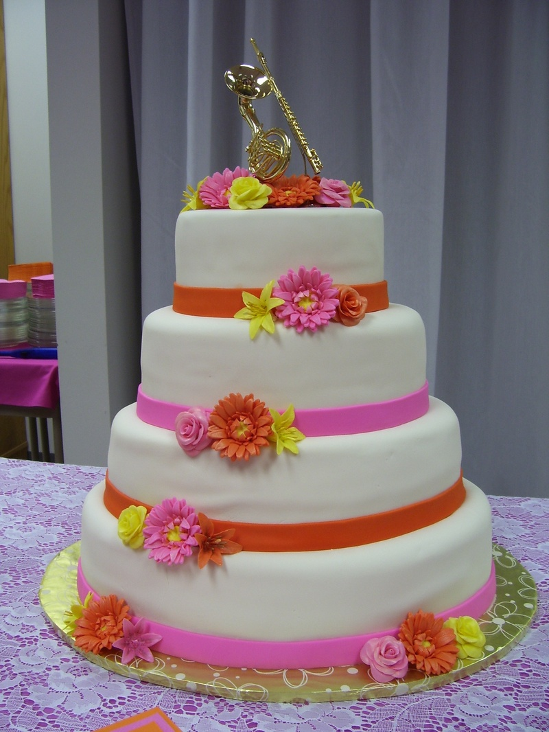 red orange and yellow wedding cakes 11 pink and yellow wedding cakes photo pink and yellow 19136