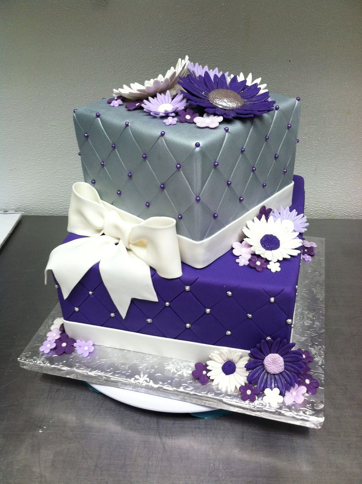 11 Lavender And Silver Birthday Cakes Photo Black Silver And