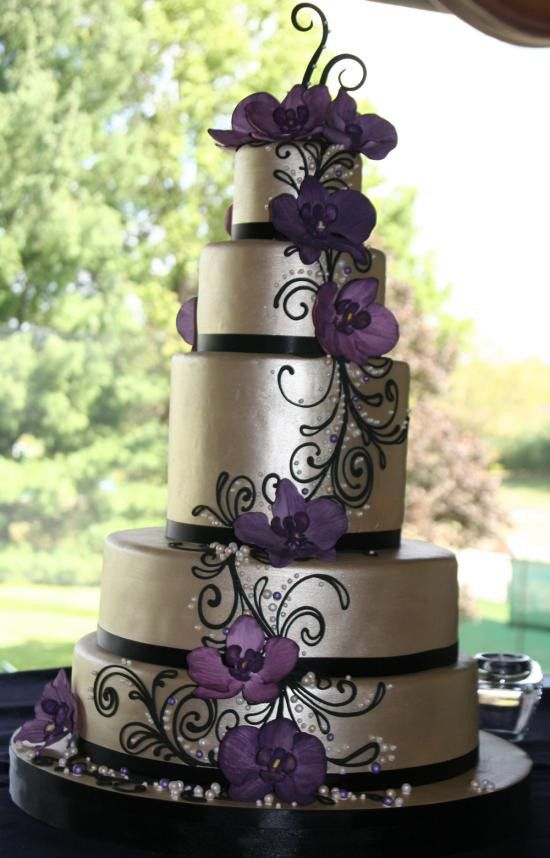 10 Black And Purple Cake Wedding Cakes Photo Purple And Silver