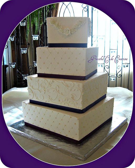 Purple Square Wedding Cake