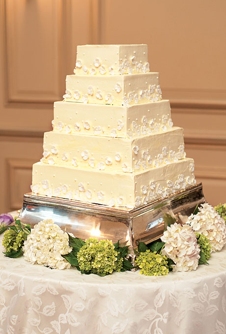 6 Square Wedding Cakes With Live Flowers Photo - Purple and White ...