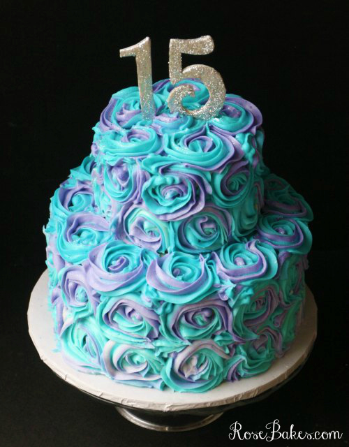 Teal And Purple Roses Birthday Cake