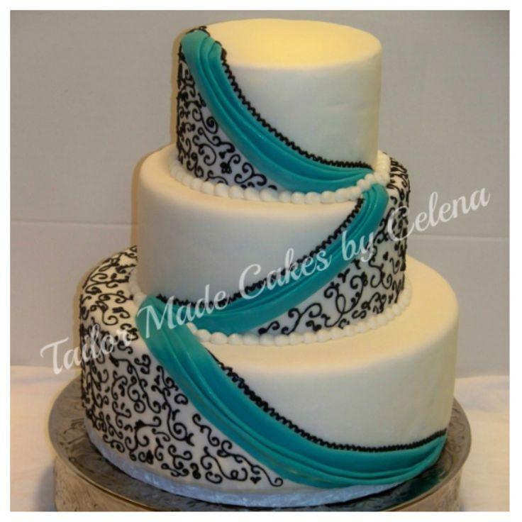 12 Aqua And Black Cakes Photo Turquoise Black And White Wedding