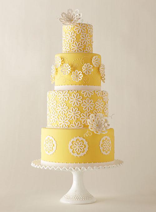 Yellow Flower Wedding Cake - Flowers Healthy