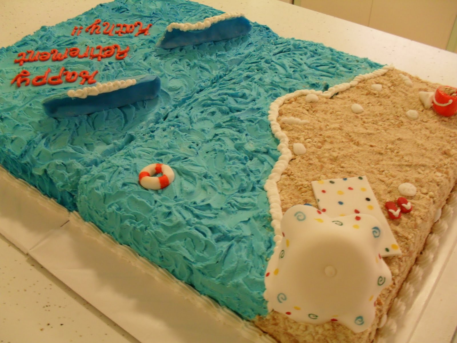 Beach Themed Sheet Cakes Retirement