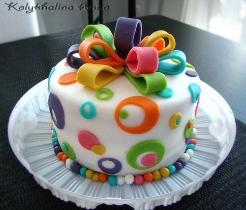 11 Fondant Birthday Cakes C Photo Rainbow Sprinkle Cake Happy