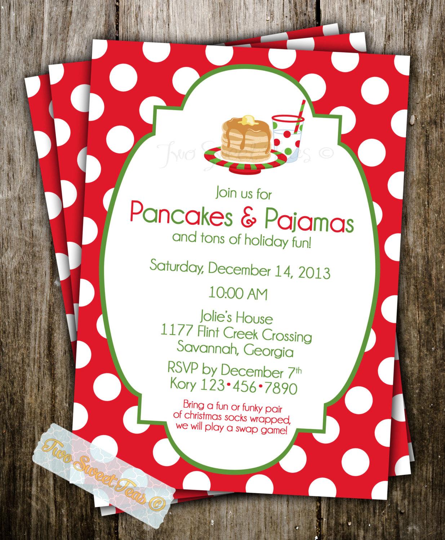 6 Pancakes With Santa In Pajamas Photo - Pajamas Invitation ...