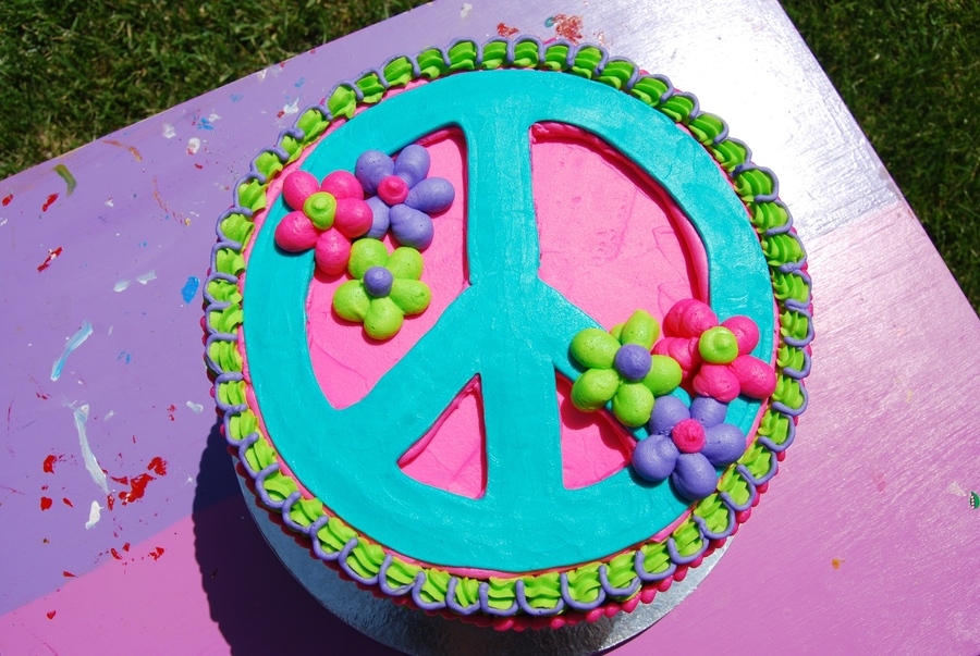 Admirable 13 Peace Sign Cakes Buttercream Photo Peace Sign Birthday Cake Personalised Birthday Cards Epsylily Jamesorg